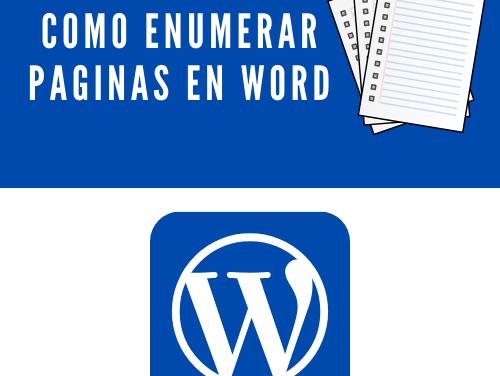 Cómo enumerar páginas de word